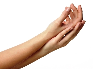 forearms and hands together