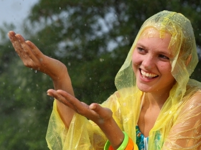 woman in rain yellow jacket hands