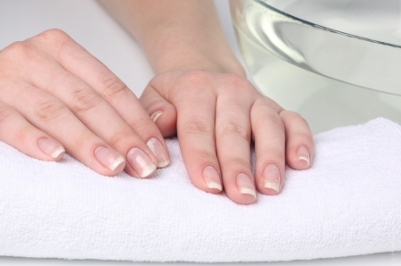 hands on towel for manicure